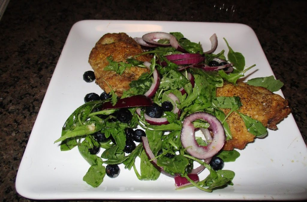 A Delcious Quick and Easy Summer Supper- Crispy Chicken Thighs with a Blueberry Salad